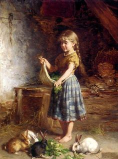 Children and their pet rabbits~~antique oil paintings~~   Feeding The Rabbits by German artist Heinrich Hirt (1841-1902)