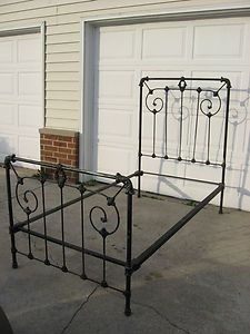 antique vintage iron bed frame twin wrought iron scroll design headfoot board - Metal Bed Frames For Sale