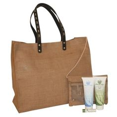 Rustic beach bag comes with Aloe Up suncare products.