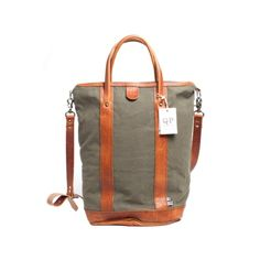 Brown Leather and Green Canvas Helmet Bag