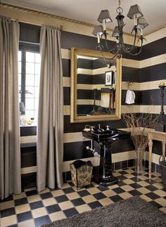 and checks too! With a handsome palette and strong patterns, His Powder Room was created by Anita Phipps for the 2013 Adamsleigh Showhouse - Traditional Home® Photo: John Bessler Decor, Home Decor Furniture, Gold Furniture, Home, Masculine Decor, Striped Walls, Traditional House, Traditional Home Magazine, Home Decor