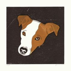 CAPTAIN Jack Russel dog  Linocut print By James Brown on Etsy, $83.33 AUD
