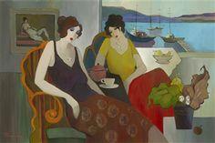 Tarkay, Itzchak  Shore Tea, Acrylic painting on canvas  2006