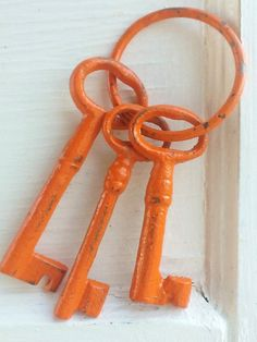Bright Orange Skeleton Keys-Home Decor-Rustic -Cast Iron-Vintage Inspired -Metal Decor-Groomsmen Gift-Summer Home Decor-Father Gift