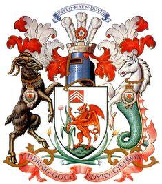 "Coat of Arms | The Coat of Arms for Cardiff Motto: ""Yddraig goch ddyry cychwyn""-""The red dragon will lead the way"""