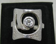 R001179 Sterling Silver Ring Solid 925 Spiral CZ