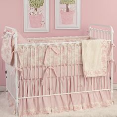 Baby Pink Toile Crib Bedding, Nursery Bedding, Baby Bedding, Doodlefish