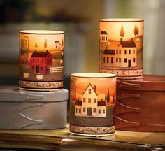 country decorations | Set of 3 - Country Decor Flameless Candles