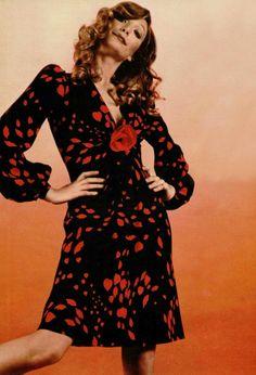 Yves Saint Laurent Rive Gauche dress L'officiel magazine 1971 vintage fashion designer couture 70s black red secretary dress floral puff long sleeves day wear retro repro 40s style