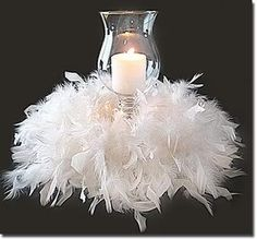 Inexpensive Quinceanera centerpieces - cut a boa (from a craft store) & wrap around a candle - instant glam!