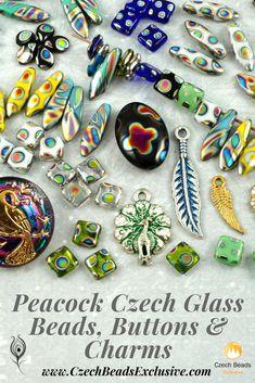 Peacock Czech Glass Beads, Buttons and Charms    SAVE it!   CzechBeadsExclusive.com #czechbeadsexclusive #czechbeads