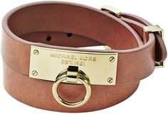 Michael Kors  Leather Wrap Bracelet, Tan