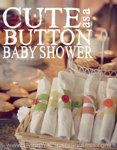 Planning a baby shower?  This adorable theme lends itself to all sorts of easy DIY projects for a pretty party that is both budget-friendly and beautiful!  Don't miss these gorgeous ideas for a Cute as a Button baby shower!