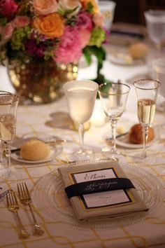 We love the touches of gold on the menu, glassware, and linens. | A Day In May, Event Planning & Design | Northern Michigan Weddings | Traverse City Weddings | Preppy Garden Party | Leland Community United Methodist Church & Grand Traverse Resort and Spa | Jen Kroll Photography
