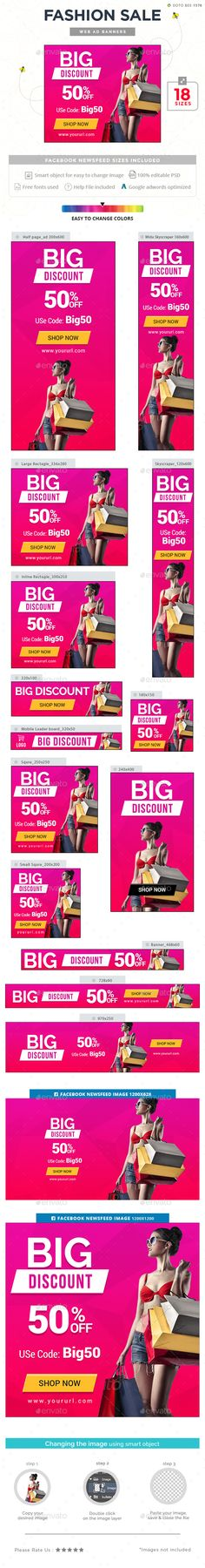 Fashion Sale Banner Design Template - Banners & Ads Web Template PSD. Download here: https://graphicriver.net/item/fashion-sale-banners/17228656?s_rank=203&ref=yinkira