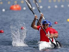 Jorge Garcia and Reinier Torres of the Cuba compete