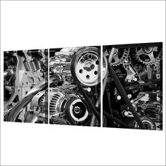 Industrial Engine Gears Canvas Print Set Rouse the Room Work Pictures, Wall Art Pictures, Pictures To Paint, Print Pictures, 3 Panel Wall Art, Wall Art Sets, Canvas Wall Art, Canvas Prints, Steampunk Interior