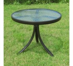 Round Outdoor Patio Glass Top Side Table Powder Coated Steel Frame Tempered  #RoundOutdoorTable