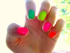a rainbow of neon nails
