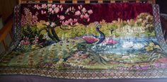 Vintage Large 72x49 1/2 Peacock Tapestry Wall