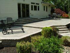 raised concrete patio ideas | raised stamped concrete patio with ... - Raised Concrete Patio Ideas
