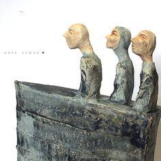 Three Blue Men in a Boat//Ceramic Sculpture/ Unique Ceramic Figurine/ Brown figurine by arekszwed on Etsy