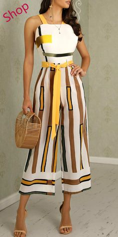 Contrast Striped Backless Wide Leg Jumpsuit Bodycon dress Fashion outfits Clothes for women fashion Fashion dresses Knee length dresses Fashion Outfits, Womens Fashion, Fashion Tips, Fashion Clothes, Dress Fashion, Fashion Fashion, Fashion Brands, Fashion Online, Latest Fashion