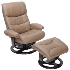 Barcalounger Dawson Pedestal Recliner / OttomanGenerously scaled pedestal chair and ottoman with a triple tiered back, articulated head rest, plush pillow arms, and pillow soft seat cushion. All seating surfaces are upholstered in a supple top gra Swivel Recliner Chairs, Recliner With Ottoman, Leather Recliner Chair, Wall Hugger Recliners, Lift Recliners, Barcalounger, Fabric Ottoman