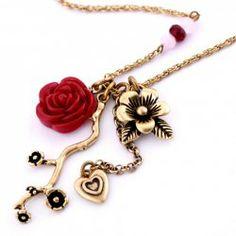 $5.48 Retro Style Heart Pendant Design Women's Flowers Sweater Chain Necklace