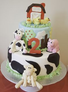 Fondant Farm Theme Birthday Cake. All hand made figures.