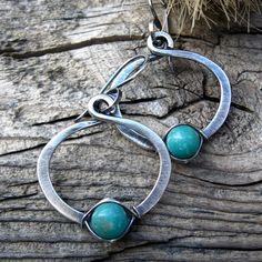 Green Turquoise Hoops oxidized sterling silver by LisasLovlies, $32.72