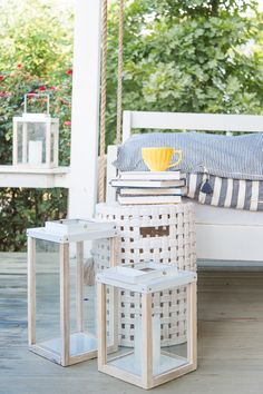An end-of-summer transition on the porch - Hedgehouse throwbeds and cozy throw blankets. Layering ticking stripes and menswear-inspired patterns together as we head into fall. Get the whole look at pencilshavingsstudio.com