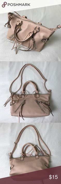 Pink shoulder bag with ties and zippers Rebecca Minkoff lookalike bag with adjustable shoulder strap and handles. Zippers and ties on the front. Medium sized. Used twice. Great condition 👍🏻 Rosey pink color H&M Bags Shoulder Bags