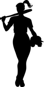 Softball Clipart Image - Silhouette of a Girl Softball Player Silhouette Clip Art, Silhouette Cameo Projects, Silhouette Painting, Silhouette Images, Softball Players, Girls Softball, Softball Coach, Cricut Air 2, Softball Pictures