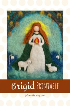 Brigid Gaelic Goddess brings the Light. Felt art made to download instantly, click here! #brigid #brigidgoddess #gaelicart #celticspringart #irishgoddess #irishprint #irishprintable #goddessart #goddessprint #irischesbild #irischegöttin #brigittegoddess #lichtmess #candlemas #goddessoffire #göttindesfeuers Magical Room, Felt Pictures, Rustic Homes, Goddess Art, Spring Art, Inspiration For Kids, Felt Art, New Home Gifts, Nursery Art