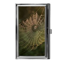Spider Web Image Design -- Stainless Steel Business Card Holder. 3.625x 2.25x.3125. Holds up to 15 standard size business cards. Show off your unique style with this fashion accessory. Glossy finish.  Actual colors may vary from the color on your screen due to monitor variations. This is a 2D business card holder. The image is printed with a professional printer and then transferred to an aluminum insert using a permanent dye transfer process. This is not a sticker. Brand new, handcrafted in…