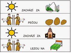 Básničky s obrázky Worksheets, Activities, Comics, Learning, Logos, Czech Republic, Babies, Musica, Autism