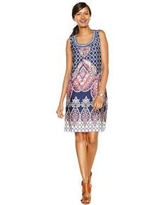 NY Collection Sleeveless Beaded Printed Sheath Dress