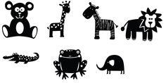 lots of SVGs /  Animaux : ourson, girafe, zèbre, lion, crocodile, grenouille, éléphant