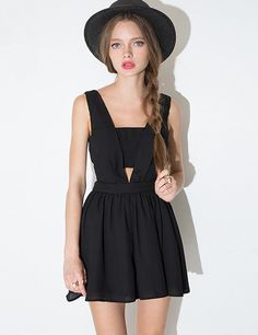e633afa1df Cute black romper with cutout bandeu design and flared bottom. Fully lined  with hidden back zip and hook eye closure.