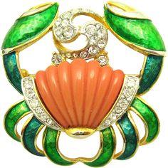 Vintage DE NICOLA Cancer the Crab Astrological Sign Enamel Rhinestones Brooch