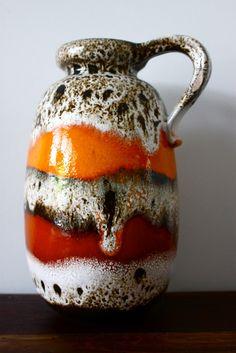fat lava pottery   WEST GERMAN POTTERY Mid Century fat lava Vase Retro for sale
