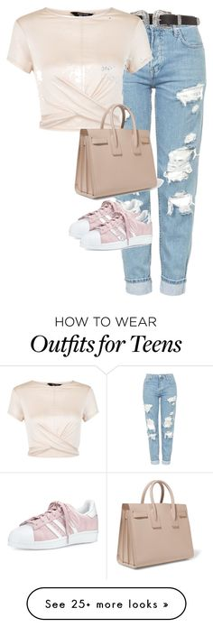"""Untitled #2132"" by ritaraho on Polyvore featuring Topshop, New Look, Yves Saint Laurent and adidas"