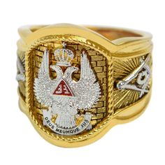 Scotish Rite 33 Degree Master Mason Masonic Ring White and Yellow 18k Gold Plated 20 Grams Double Eagle Handcrafted (9)