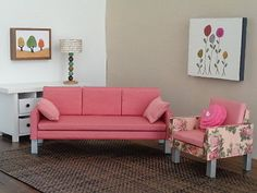 Doll-furniture-PINK-ROSE-sofa-and-chair-set-Handmade