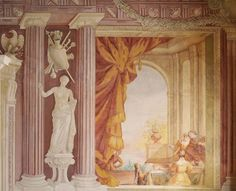 Trompe l'oeil fresco with Venus and a court scene in the Great Banqueting Hall of the Wilanów Palace by Giuseppe Rossi, 1724-1726, commissioned by Elżbieta Sieniawska