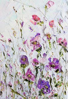 Pintura al óleo pintura púrpura flores lila rosa Original Realistic Oil Painting, Oil Painting Abstract, Painting Art, Watercolor Painting, Modern Art Paintings, Indian Paintings, Oil Paintings, Landscape Paintings, Zen Art