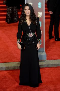 : Salma Hayek Baftas red carpet from Angelina Jolie to Lupita Nyong'o – in pictures Actors and activists gathered at the Royal Albert Hall wearing all-black outfits in support of the Time's Up movement sweeping the film industry Best Celebrity Dresses, Celebrity Red Carpet, Celebrity Style, Salma Hayek, Wearing All Black, All Black Outfit, Black Outfits, Gucci Gown, Stockholm Fashion Week