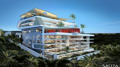 The building consists of apartments on the lower levels, a communal clubhouse and a penthouse on the upper two levels. The dramatic penthouse living level has been conceptualised as an open, floating pavilion. Classic House Exterior, Ivoire, Picture Design, Building Design, Home Interior Design, Architecture Design, House Design, Luxury, House Styles
