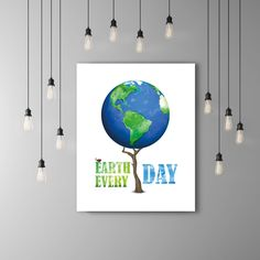 Earth Day Environment Globe Print, Environmental Art Blue Green Art, Nature Poster, Ladybug Wall Art Tree Poster, Ladybird, Ladybug Decor by PRINTANDPROUD on Etsy https://www.etsy.com/listing/229671893/earth-day-environment-globe-print